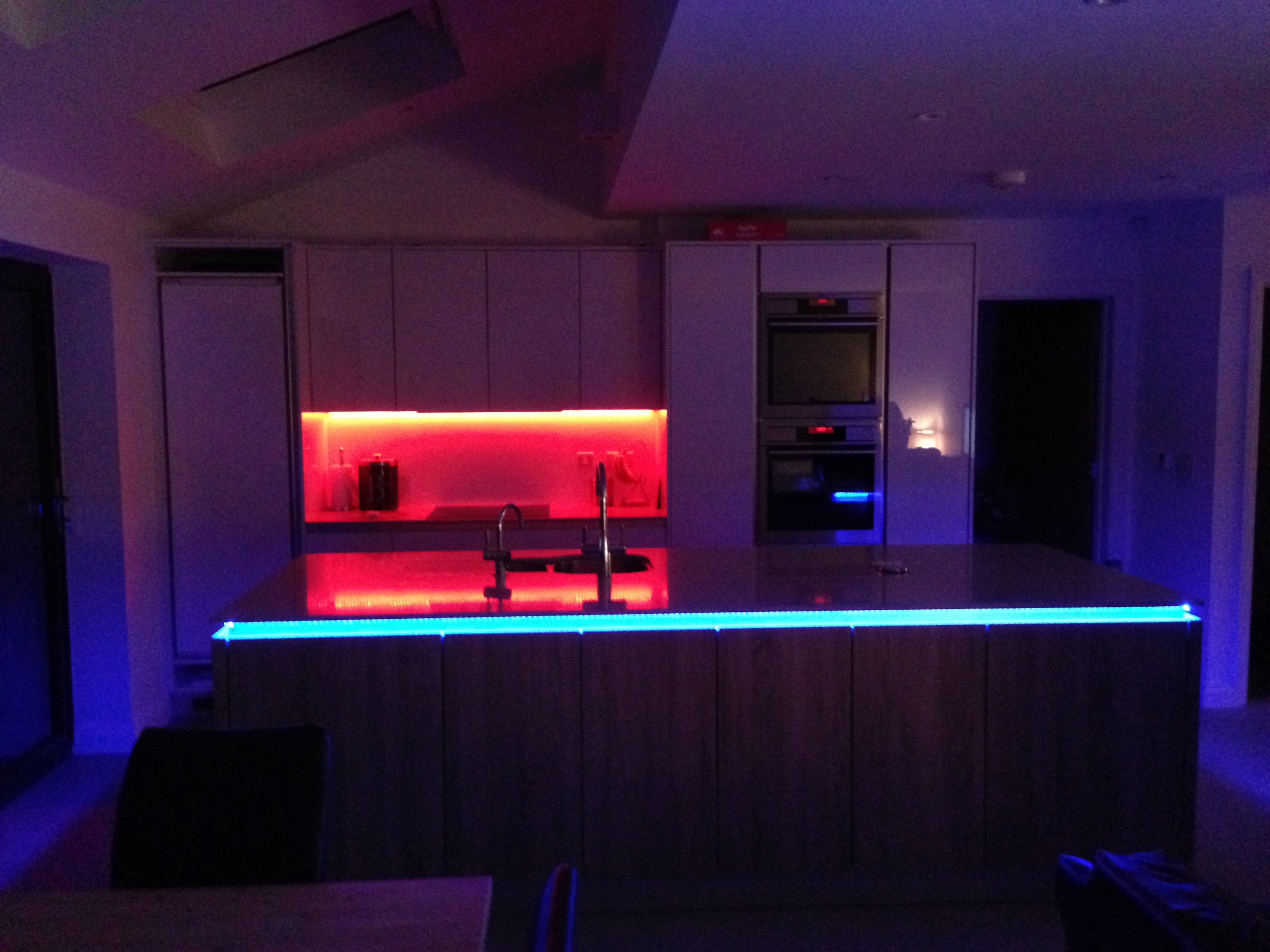 Coloured lights in kitchen