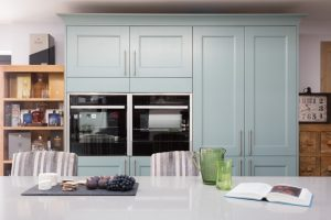 teal blue kitchen